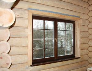 фото: окосячка окон в деревянном доме