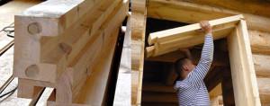 фото: установка окосячки в деревянном доме