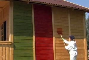 фото: необычная покраска фасада из бруса