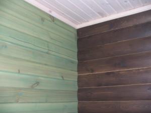 фото: пример покраски имитации бруса