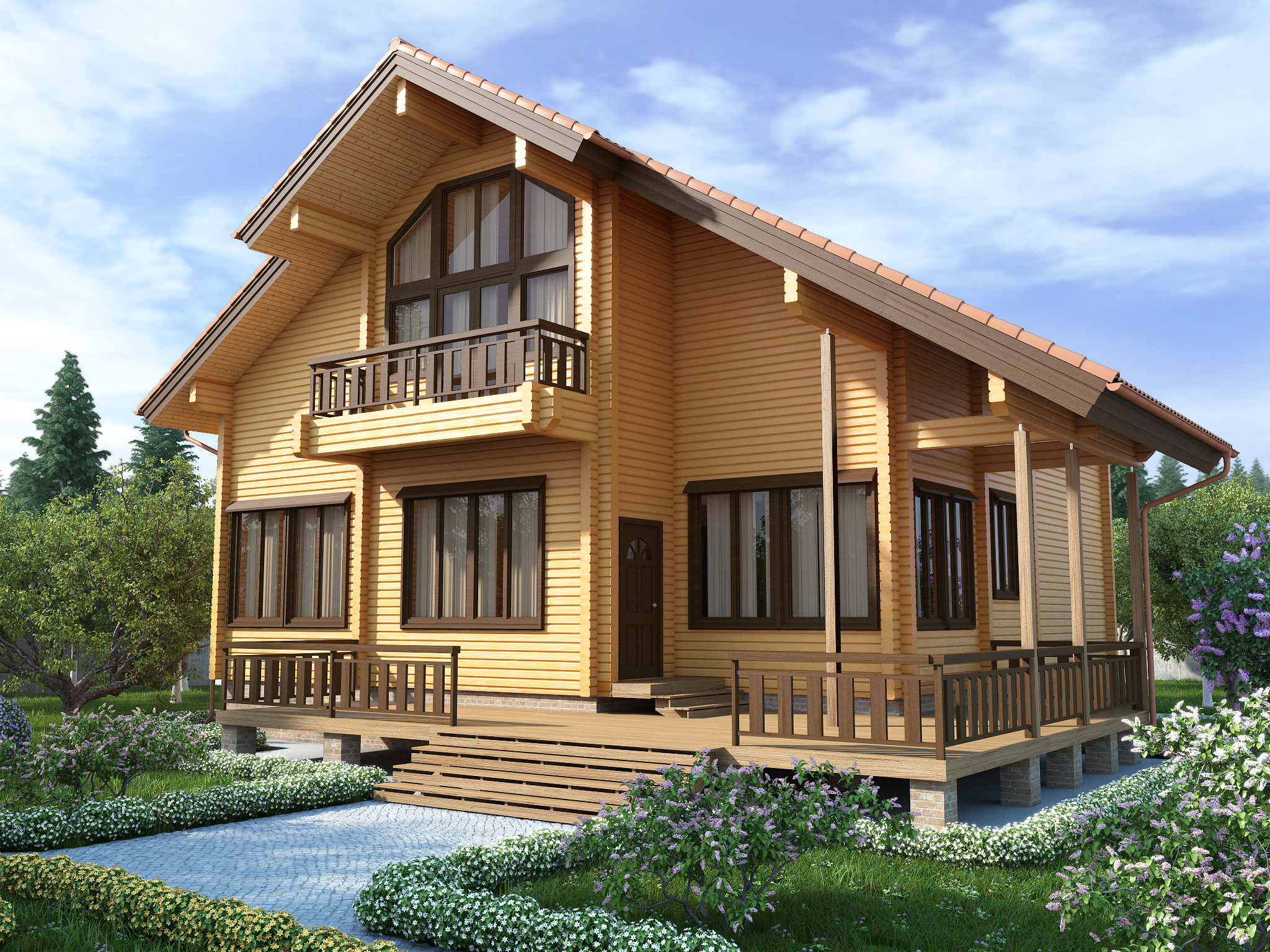 фото: Усадка дома из клееного бруса