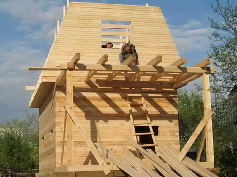 фото: усадка дома из профилированного бруса